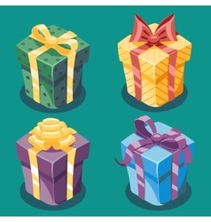 Gift Box New Year Cartoon Flat Design Icon Set vector image vector image