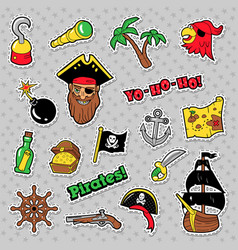 pirates badges patches and stickers with ship vector image