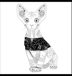 zentangle stylized cat hand drawn lace vector image vector image