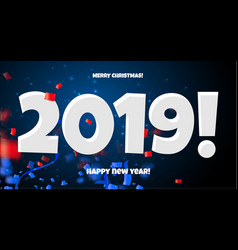 2019 happy new year red blue and white calendar vector