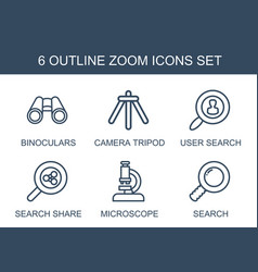 6 zoom icons vector image