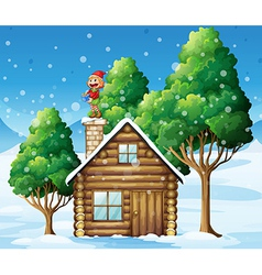 A female elf standing above the house vector