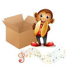 A monkey with cymbals beside a box with musical vector