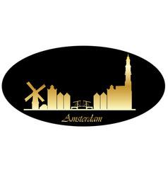 Amsterdam city skyline gold tezt vector