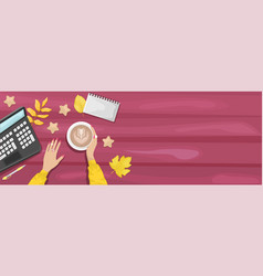 Autumn flat lay background with workplace vector