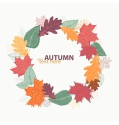 Autumn leaves wreath vector
