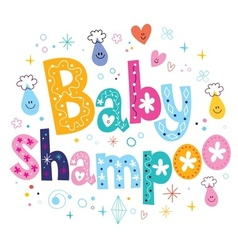 Baby shampoo decorative lettering type design vector
