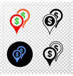bank map markers eps icon with contour vector image