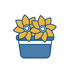 Beautiful flowers in a pot icon vector