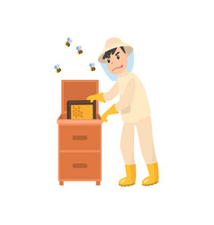 beekeeper collects honey from bees beekeeper in a vector image