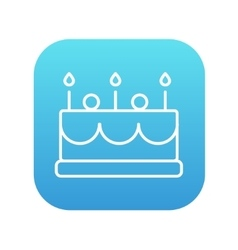 Birthday cake with candles line icon vector image
