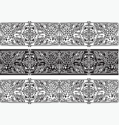 black and white floral seamless borders collection vector image