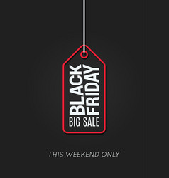 black friday tag line on black background vector image