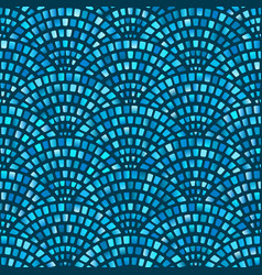 blue mosaic arched fish scale seamless pattern vector image