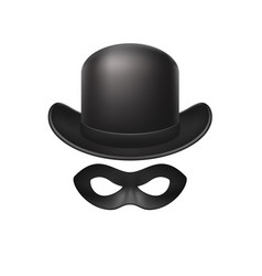 Bowler hat and eye mask in black design vector
