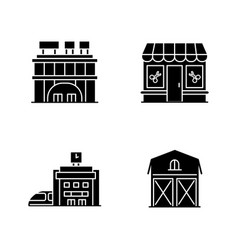 buildings black glyph icons set on white space vector image