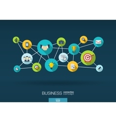 Business network background with integrate flat vector image