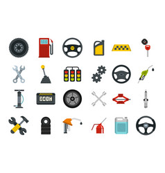 car parts icon set flat style vector image