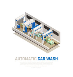 carwash service isometric concept vector image
