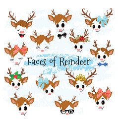 Christmas decor reindeer faces clipart vector