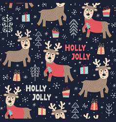 christmas seamless pattern with a cute deer vector image