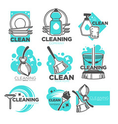 Cleaning company isolated icons washing and vector