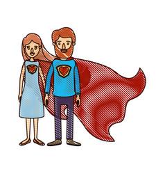 Color crayon stripe cartoon full body couple vector
