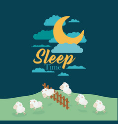 color scene night landscape of sleep time with vector image