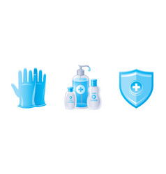 Corona virus covid 19 protection icon set in blue vector