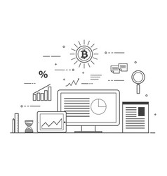 Crypto-currency digital marketing business and vector