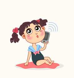 Cute bagirl with smart phone vector
