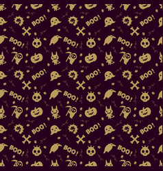 cute halloween pattern background with gold color vector image