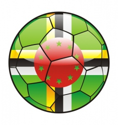 dominica flag on soccer ball vector image