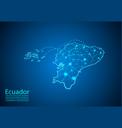 Ecuador map with nodes linked by lines concept of vector