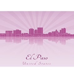 El Paso skyline in purple radiant orchid vector