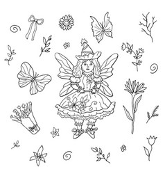 fairy girl and floral doodling hand drawn vector image