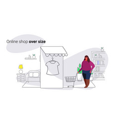 fat overweight woman using mobile application vector image