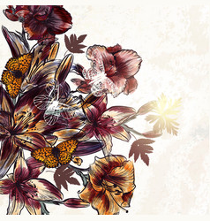 floral background flowers watercolor style vector image