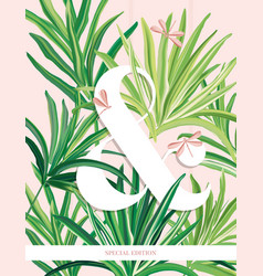 Fresh palm leaves bundle tropical banana vector