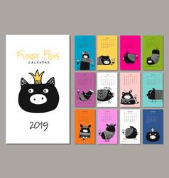 Funny pigs symbol 2019 calendar design vector