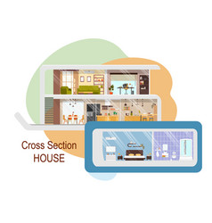 futuristic house cross section interiors vector image