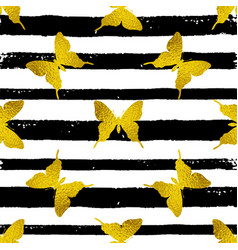golden butterflies on a striped background vector image