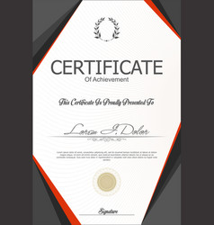 gray and orange certificate or diploma template vector image