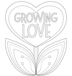growing love poster with heart shaped plant vector image