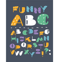 Hand drawn abc english capital letters set vector