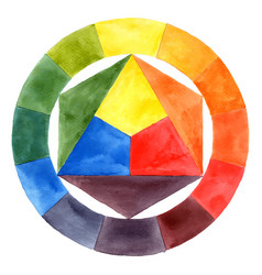 hand drawn watercolor color wheel vector image