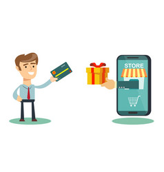 happy businessman use credit card to shopping vector image