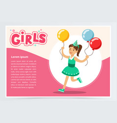 happy girl running with clolrful balloons cute vector image