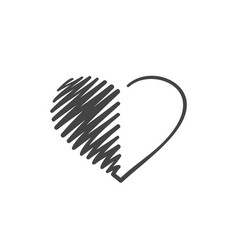 heart icon continuous one line drawing hand drawn vector image