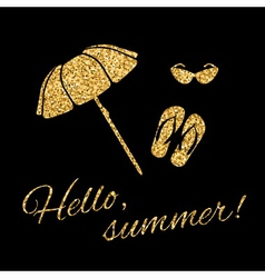 Hello summer Typography Graphic beach umbrella vector